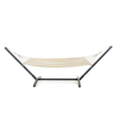 Aspen 13.5 ft. Portable Quilted Hammock Bed with Stand in Grey and Cream