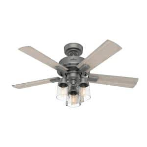 Hartland 44 in. LED Indoor Matte Silver Ceiling Fan with Light Kit
