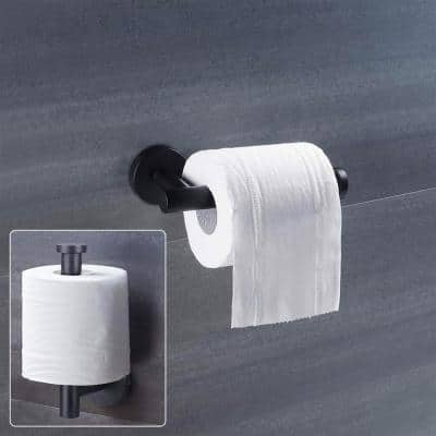 Wall Mounted Single Arm Toilet Paper Holder in Stainless Steel Matte Black