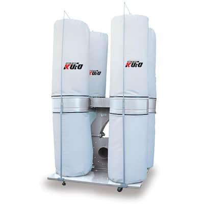 10 HP 6,450 CFM 3-Phase 220-Volt / 440-Volt Vertical Bag Dust Collector (Prewired 220-Volt)