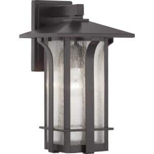 Cullman Collection 1-Light Antique Bronze Clear Seeded Glass Craftsman Outdoor Medium Wall Lantern Light