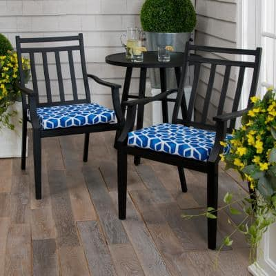 Blue Cubed Outdoor Seat Cushion (2-Pack)
