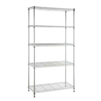 Chrome 5-Tier Heavy Duty Metal Wire Shelving Unit (48 in. W x 72 in. H x 18 in. D)