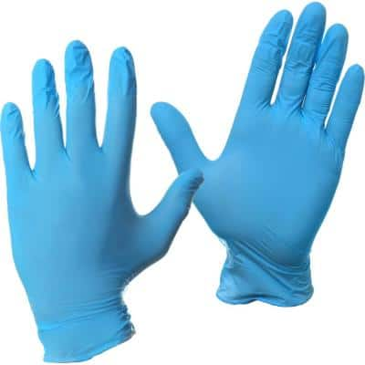 Blue Large 3.5 mil Nitrile Disposable Work Gloves, Latex-Free (Box of 100)