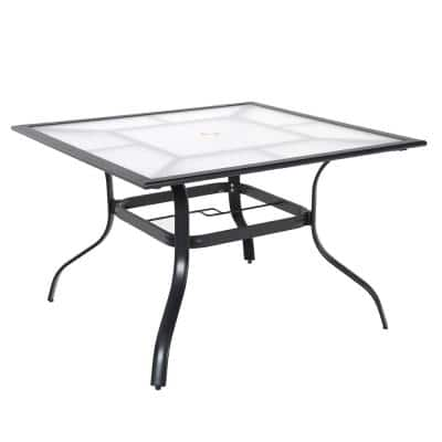 42 in. Commercial Aluminum Square Outdoor Patio Acrylic Top Dining Table in Black