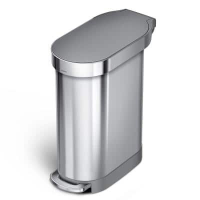 45 Liter Slim Step Can in Brushed Stainless Steel with Plastic Lid
