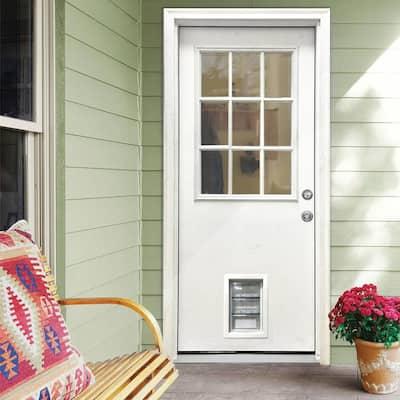 31-3/4 in. x 79 in. Clear 9-Lite White Primed Fiberglass Front Door Slab with Medium Pet Door