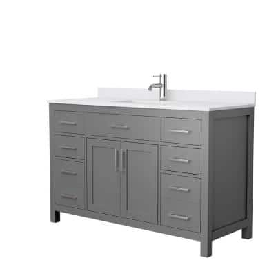 Beckett 54 in. W x 22 in. D Single Vanity in Dark Gray with Cultured Marble Vanity Top in White with White Basin