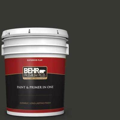 5 gal. #T13-3 Black Lacquer Flat Exterior Paint and Primer in One