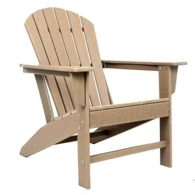 32 in. Brown Resin Traditional Plastic Adirondack Chair