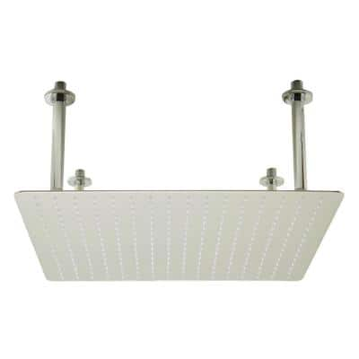 1-Spray 20 in. Single Ceiling Mount Fixed Rain Shower Head in Brushed Stainless Steel