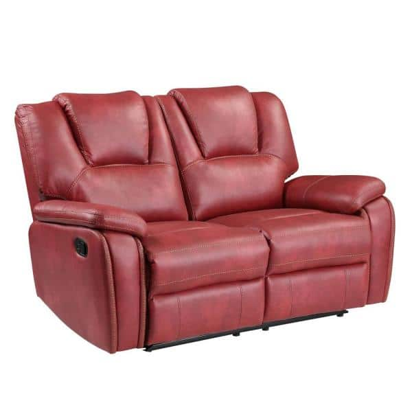 Steve Silver Katrine 62 In Red Faux, Red Faux Leather Sofa And Loveseat