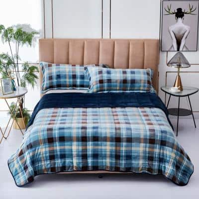 Plaid Twin 20 lb. 3 PC Weighted Comforter Set