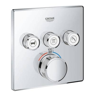 Grohtherm Smart Control Triple Function Square Thermostatic Trim with Control Module in Starlight Chrome