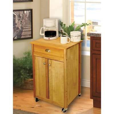 Promo Birch Natural Wood Kitchen Cart with Storage