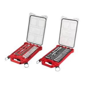 3/8 in. Drive SAE/Metric Ratchet and Socket Mechanics Tool Set with PACKOUT Case (60-Piece)