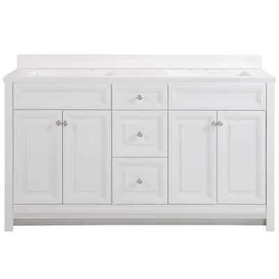Brinkhill 61 in. W x 22 in. D Bath Vanity in White with Cultured Marble Vanity Top in White with White Sinks