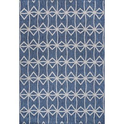 Saunders Geometric Indoor/Outdoor Blue 6 ft. 7 in. x 9 ft. Area Rug