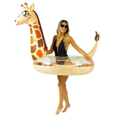 48 in. Inflatable Deluxe Glitterfied Giraffe Pool Tube