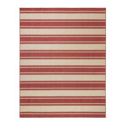 Paseo Castro Grain/Red 8 ft. x 10 ft. Striped Indoor/Outdoor Area Rug