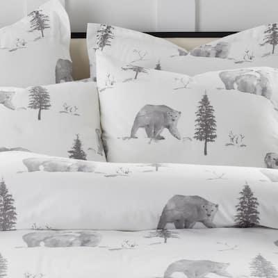 Bear Tracks Holiday Flannel Duvet Cover