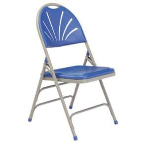 Blue Plastic Seat with Fan Back Stackable Outdoor Safe Folding Chair (Set of 4)