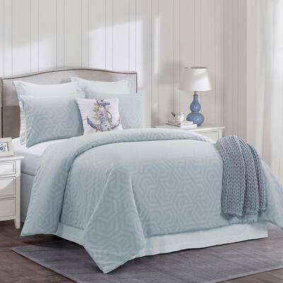 Seville 3-Piece Blue Cotton Queen Comforter Set