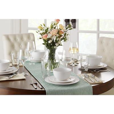 Leighton 32-Piece Textured White Stoneware Dinnerware Set (Service for 8)