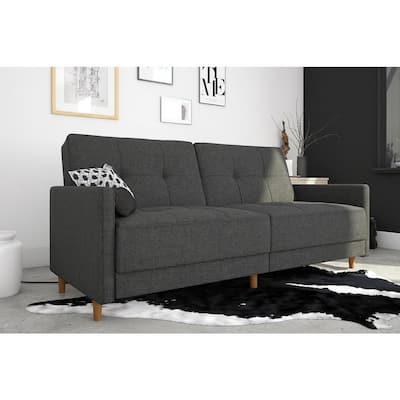Andora Coil Twin/Double Size Gray Linen Futon