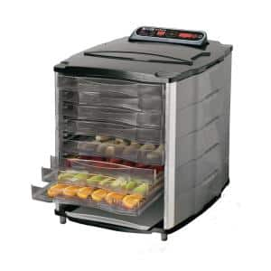 10-Tray Black and Silver Food Dehydrator with Temperature Display