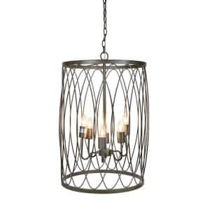 6-Light Cast Iron Pendant Lamp with Modern Open-Wire Shade