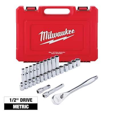 1/2 in. Drive Metric Ratchet and Socket Mechanics Tool Set (28-Piece)