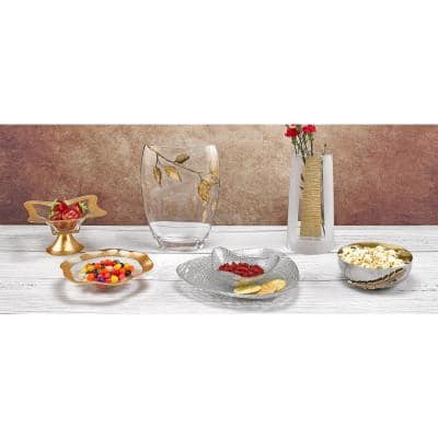 12 in. x 8 in. Hand Decorated Gold Leaf Edge Oval Glass Serving Bowl