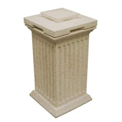 Savannah 16 in. x 16 in. x 38 in. Polyethylene Column Waste and Storage Bin in Sandstone
