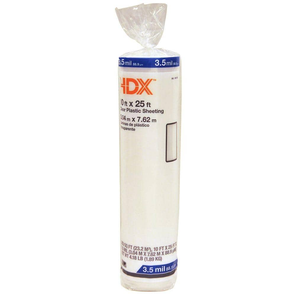HDX 10 ft. x 25 ft. Clear 3.5 mil Plastic Sheeting
