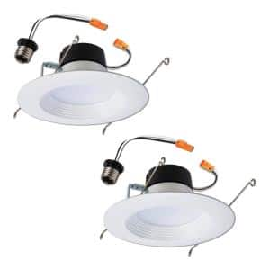 LT 5 in. and 6 in. 5000K Daylight Integrated LED White Recessed Ceiling Light Retrofit Trim (2-Packs)