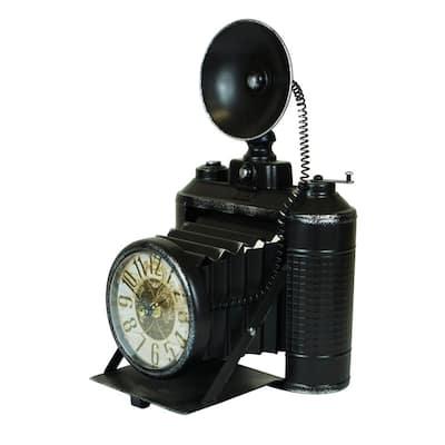 Black Metal Camera Table Clock