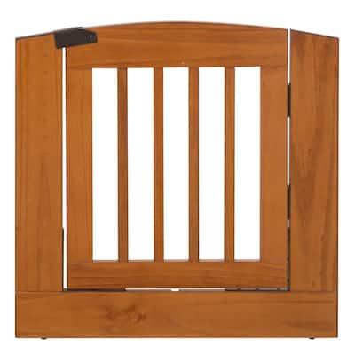 "Ruffluv Single Extender Pet Gate Panel with Door - Medium - 24""H - Chestnut Finish"