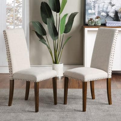 Beige Upholstered Dining Chairs (Set of 2)