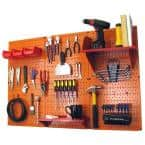 32 in. x 48 in. Metal Pegboard Standard Tool Storage Kit with Orange Pegboard and Red Peg Accessories