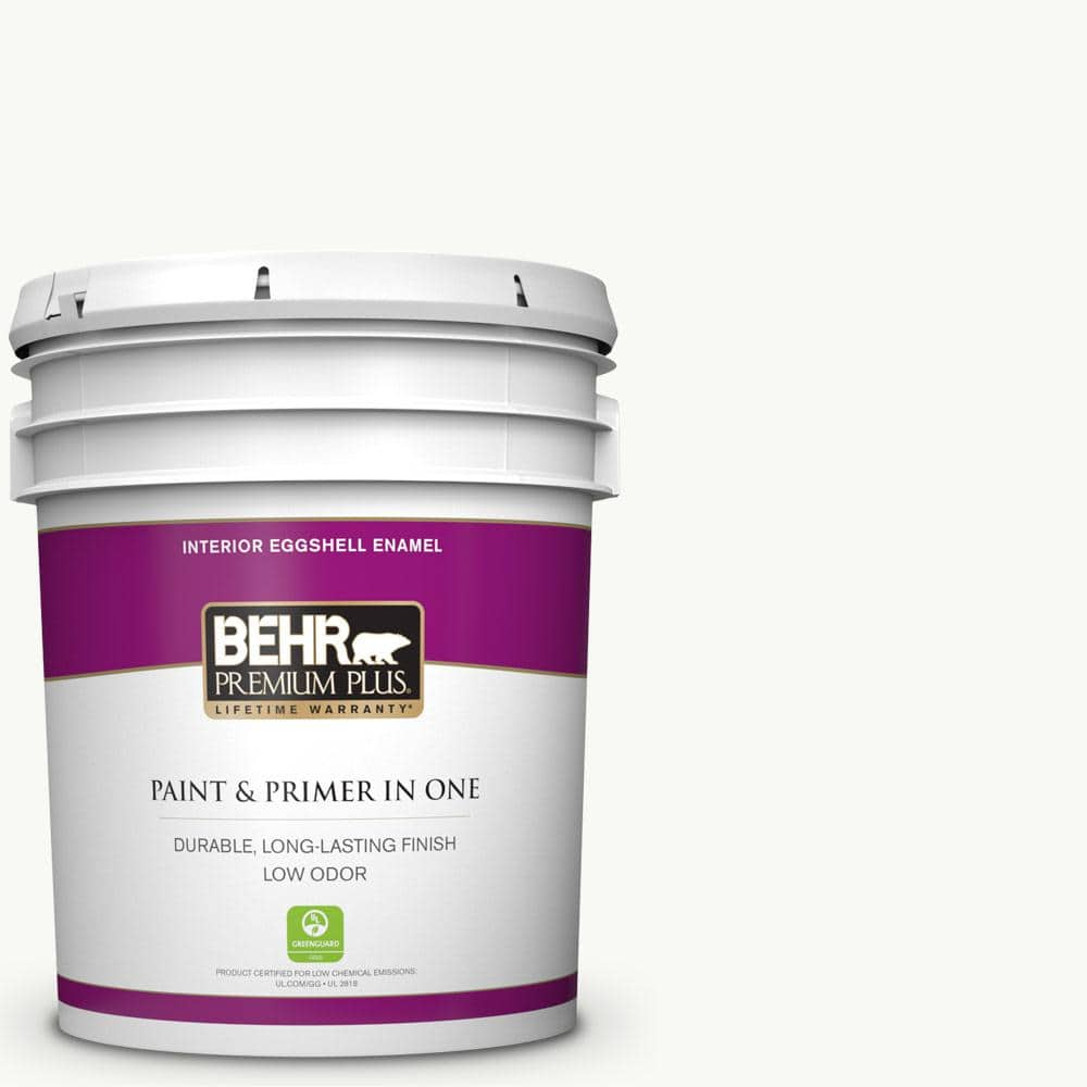 Behr Premium Plus 5 Gal Ultra Pure White Eggshell Enamel Low Odor Interior Paint And Primer In One 205005 The Home Depot