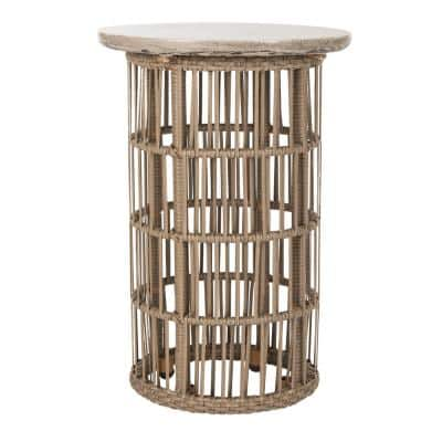Fane Dark Gray Round Stone Indoor/Outdoor Side Table