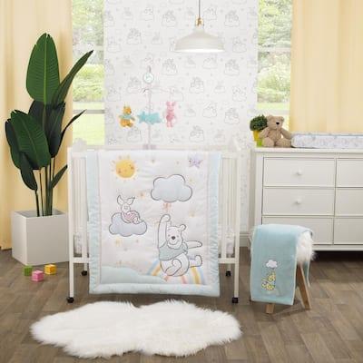 Winnie the Pooh 3-Piece Multi-Colored Nursery Mini Crib Bedding Set (Comforter and 2-Fitted Mini Crib Sheets)