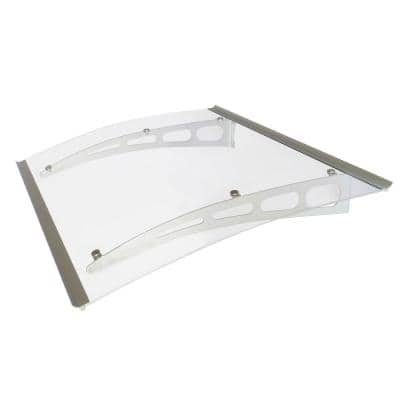 PA Series Solid Polycarbonate Sheet Door Awning (59 in. W x 35 in. D) in Silver Aluminum Bracket