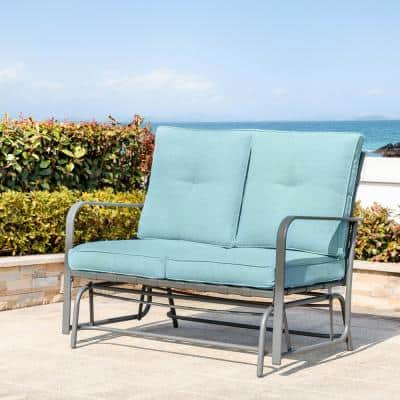 Metal Outdoor Patio Loveseat Glider Chair in Blue Cushion