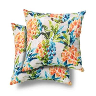 18 in. x 18 in. Pineapples Square Outdoor Throw Pillow (2 Pack)