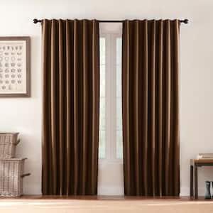 Deep Brown Solid Thermal Back Tab Room Darkening Curtain - 42 in. W x 95 in. L