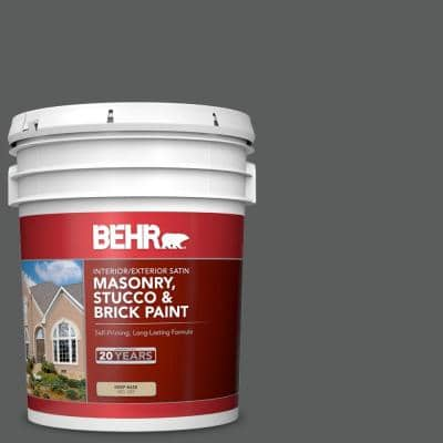 5 gal. #N520-6 Asphalt Gray Satin Interior/Exterior Masonry, Stucco and Brick Paint
