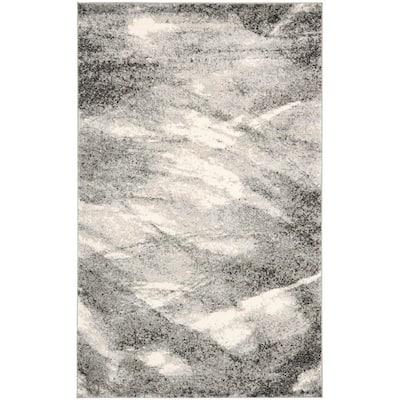 Retro Grey/Ivory 4 ft. x 6 ft. Area Rug