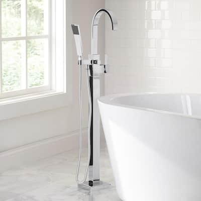 Farrington Single-Handle Freestanding Floor Mount Tub Faucet with Handheld Handshower in Chrome